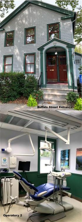 Image of two story building with two-step stoop above second image of dental operatory with window