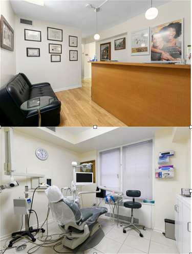 dental waiting area with desk and operatory with chair and equipment